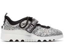 logo glitter lace-up sneakers
