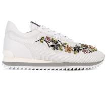 Sneakers mit floraler Kristallverzierung
