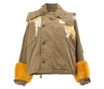 embellished cropped hooded jacket