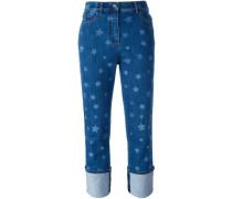 Boyfriend-Jeans mit Sterne-Print