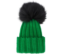 Green Wide Ribbed Cashmere Hat with Fur Pom Pom