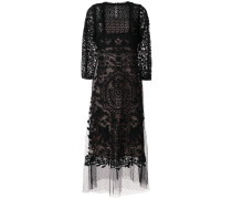 lace embroidered flared dress