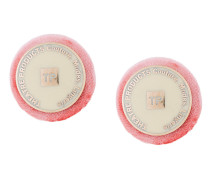 branded round clip-on earrings