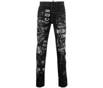 Skinny-Jeans mit grafischem Print