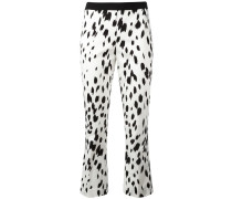 brush print cropped trousers