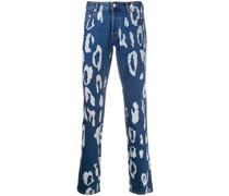 'Just-fit' Jeans mit Leoparden-Print