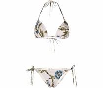 Gebundener Bikini mit Blumen-Print