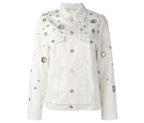 grommet detailed denim jacket