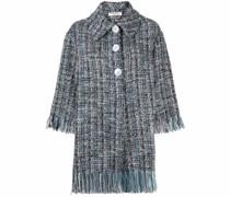 Tweed-Mantel mit Fransen