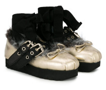 faux fur buckle ballerinas