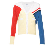 V-Neck Cardigan With Red, White And Blue Diagonal Stripe & Rib Intarsia In Cashmere