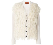 shaggy-knit buttoned cardigan
