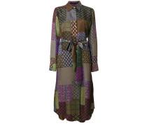 patchwork print shirt dress