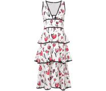 tiered floral-print midi dress