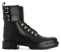 embossed logo strap boots