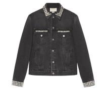 Denim jacket with embroideries - men