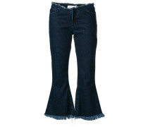 raw edge cropped flared jeans