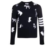 Intarsien-Pullover mit Tieren