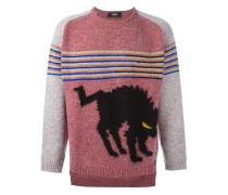 intarsia knit marled jumper