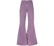 - flared gingham trousers - women