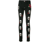 skull appliquéd skinny jeans