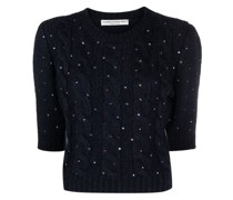 sequin-embellished knitted top