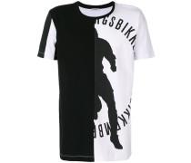 asymmetric print T-shirt
