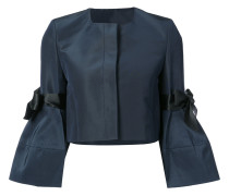 bow detailed faille bell sleeve jacket