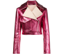 Pink Metallic cropped lurex biker jacket