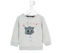 - cat print sweatshirt - kids