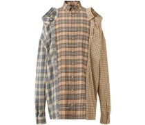 contrast check flannel reconstructed shirt