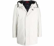 concealed-zip hooded coat