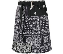 floral-print belted shorts