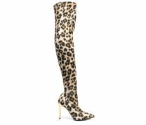 Overknee-Stiefel mit Leoparden-Print