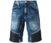 ribbed panel denim shorts