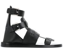 embossed logo roman sandals