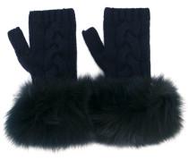 Fingerlose Handschuhe mit Pelzbesatz