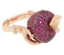 18ct Rotgoldring mit Diamanten und Rubinen