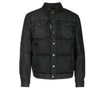 raw denim panel padded jacket