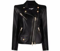 multi-zip leather biker jacket