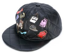 badge applique quilted snapback - women