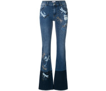 dragonfly patch bootcut jeans