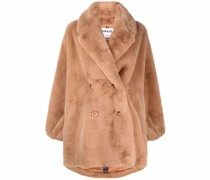 Doppelreihiger Mantel aus Faux Fur