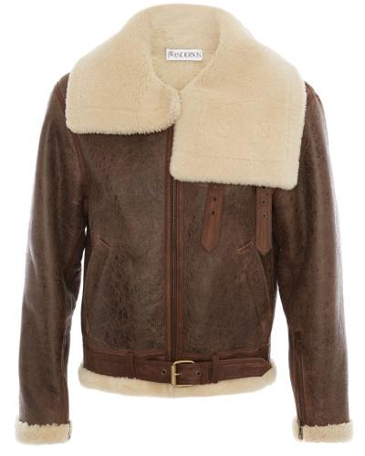 Shearling-Jacke mit Oversized-Kragen