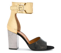 colour block snake skin effect sandals