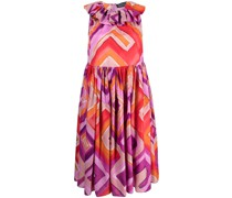 geometric-print ruffled dress