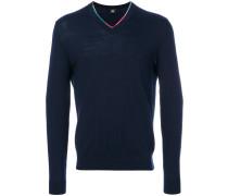 Pullover mit buntem V-Ausschnitt