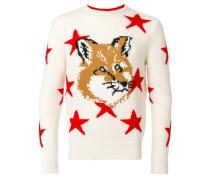 Intarsien-Pullover mit Fuchskopf