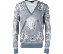'Lenticular Foulard' Pullover mit V-Ausschnitt