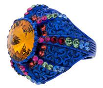 Blue Crystal Pincushion Signet Ring